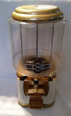 SSF Silent Sales Force Cream & Gold Gumball Quarter Machine Working without Key