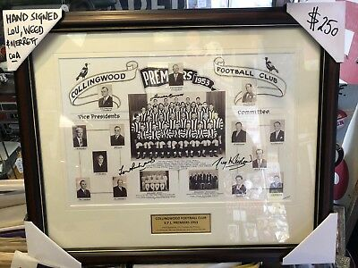 Collingwood 1953 Premiers Framed Print Hand Signed Richards, Weed And Merrett.