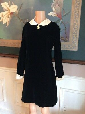 Vintage Velvet Peter Pan Collar French Cuff Cameo Pin A Line Dress 4