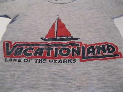 VTG 80's USA Made Vacation Land Lake of the Ozarks Sailboat Kid's Shirt size S (