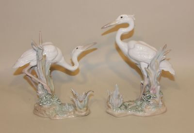 Retired Lladro 6882 & 6883 Heron's Realm Standing & Crouching Candleholders