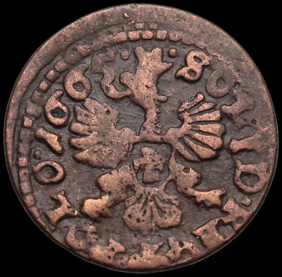 POLAND. Jan of Casimir Hammered Solidus, Regal Eagle, Dated 1665