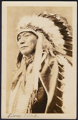 Native American Indian RPPC Sioux Chief with Headdress Photograph AZO Post Card