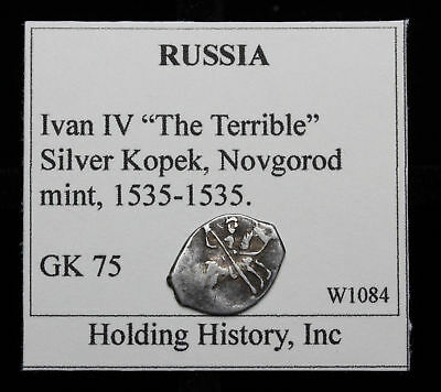 "RUSSIA. Ivan IV ""The Terrible"", Hammered Silver Kopek, Wire Money, G&K 75"