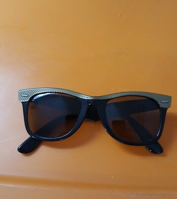 80's Vintage Ray Ban Black and Gold Wayfarer Sunglasses with Amber Lenses