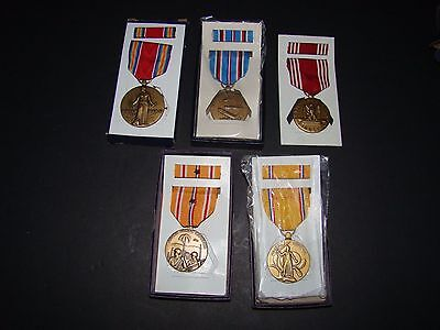 Lot of (5) WWII MILITARY SERVICE MEDALS & RIBBON BARS w/BOXES~ASIATIC, VICTORY,