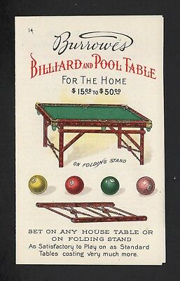 SCARCE 1880s Trade Card Folder - Burrowes Billiard & Pool Table
