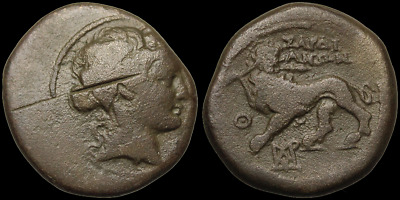 LYDIA, Sardes. Dionysos / Panther with Ivy and Spear, 16mm, 5.20g