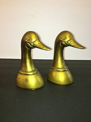 Vintage SOLID Cast BRASS Pair DUCK HEAD Paperweight BOOKENDS