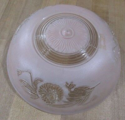 Vintage Art Deco 3 Hole Hanging Ceiling Light Fixture Shade Pink Frosted Clear >