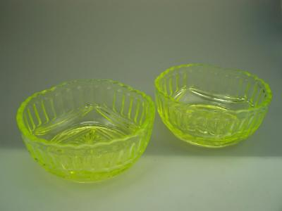 Pair of citrine uranium glass bowls Crown Crystal?