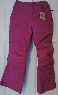 New Lands End Girls Squall Snow Pants size 10 Deep Pink