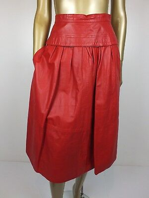 Vintage 80S Red Leather Skirt Full High Waist Dress Skirt 12 S