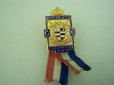 1937 Coronation badge King George VI by Denton Urban Dist.Council Lancs. 2403
