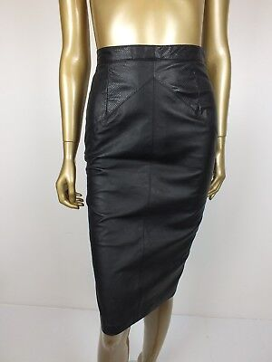 Vintage 80S Leather Skirt Snakeskin  Black Pencil High Waist Dress Skirt 12 S