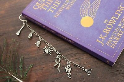 Awesome Harry Potter Handmade Silver Charm Bookmark Deathly Hallows Witch Wizard