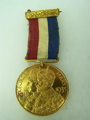 Silver Jubilee medallion bar & ribbon King George V Queen Mary 1935          646