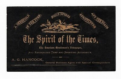 SCARCE 1860s Trade Card - Sports / Horse Racing Newspaper - Spirit of the Times