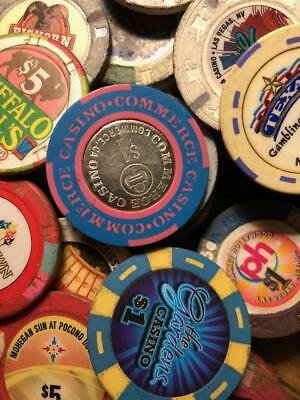 101 Casino Chips various $1-$25 Just arrived in collection $5 many diff LOT LOOK