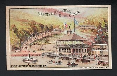 RARE 1880s Trade Card - STARIN'S GLEN ISLAND EXCURSIONS TIME TABLE New Rochelle