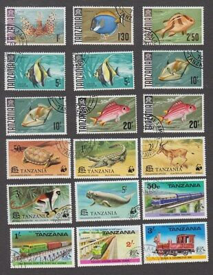 Tanzania 1967 - 1977 Used Fish, Animal & Train Stamps (Gd432)