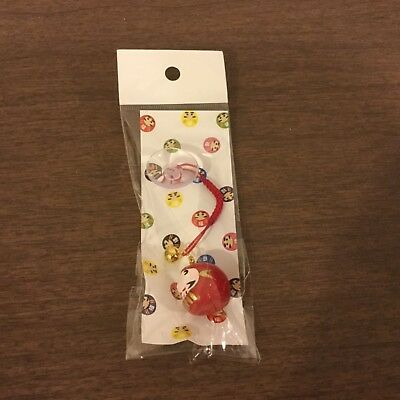 MADE IN JAPAN Japanese Good Luck Red Daruma Cell Phone Charm + Suction Cup NEW