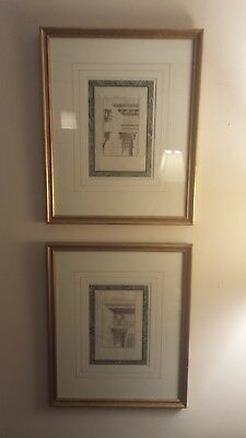 Pair Of Antique French Architectural Engravings/circa 1790