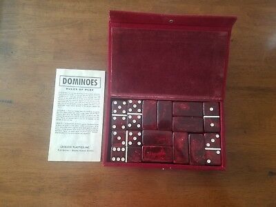Vintage Crisloid Catalin/Bakelite Dominoes Set RED Thick