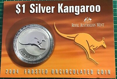 2004 $1 silver frosted kangaroo on card 1oz 99.9 silver