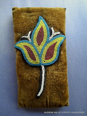 A Fine 19Th Century Nez Perce - Plains Indian Beaded Cushion With Tulip Design