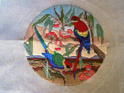 Completed Long Stitch Of Rosellas And Blossoms. 29Cms Round.