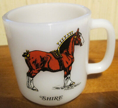 Vtg Midcentury Glasbake Coffee Mug Shire Draft Horse