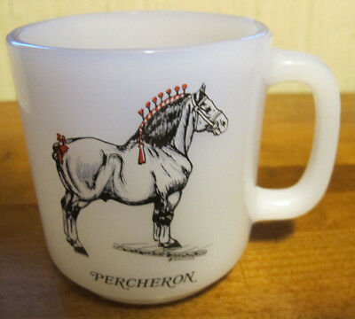 Vtg Midcentury Glasbake Coffee Mug Percheron Draft Horse