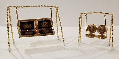 Set of Two Limoges Small French Miniature Decorative Swings - Rare & Collectible