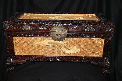 Rare Antique 18th Phoenix Peacock Century Carved Chinese Camphor Wood Chest Box