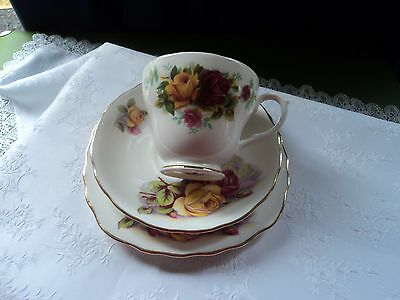 Vintage mixed bone china trio - Royal Osborne & Duchess -  Roses