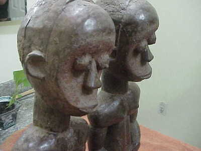 "#781 Antique African Fang Tribal Fetish Figure 22"" Tall Wood Reliquary Statue Ca"