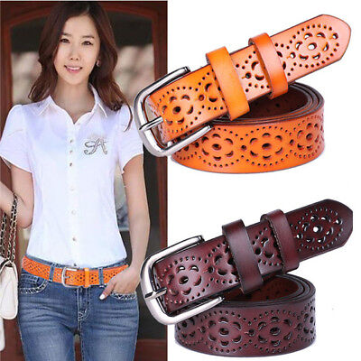 """NEW LADIES REAL LEATHER BELTS GIRLS 1.5/"""" WIDE BRAIDED STYLE BELTS LB02"""