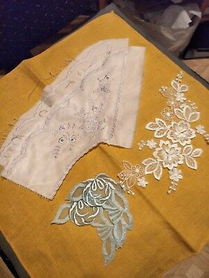 Vintage Embroidered Ladies Collar/white Fancy Lace Motif/2 Acqua Motifs