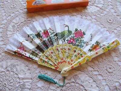 CHINESE FOLDING HAND FAN – PEACOCK DESIGN w LACE TRIM – CHINESE CLASSICAL SCENT