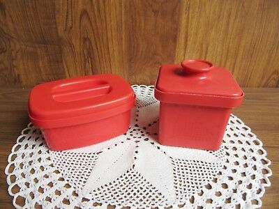 RETRO 70's RED PLASTIC MARGERINE BUTTER CONTAINERS inc DÉCOR AUSTRALIA
