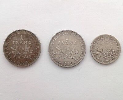 France1 Franc 1899 and 1915 Plus 50 Cents 1916 Silver Coins #CAP