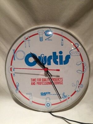 """Vintage Curtis Noll Industries 12"""" Advertising Clock,Garage Glass Domed Man Cave"""