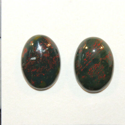 Bloodstone Cabochons 13x18mm with 5.5mm dome from India set of 2 (13328)