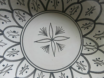BRAND NEW BOWL Large Moroccan style Ceramic Grey White Gift Display or serve