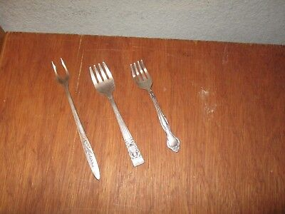 Vintage Lot Of 3 Community Silver Plate Assorted forks. Pickle & Cocktail