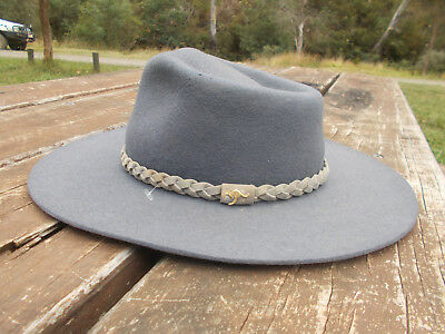 VINTAGE WILD RIVER PURE NEW MERINO WOOL HAT COUNTRY ACUBRA/STYLE size 55  AUSSIE