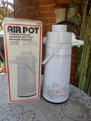 VINTAGE/RETRO AIRPOT THERMOS VACUUM FLASK CAMPING PRESSURE POWERED HOT/COLD 1.8l