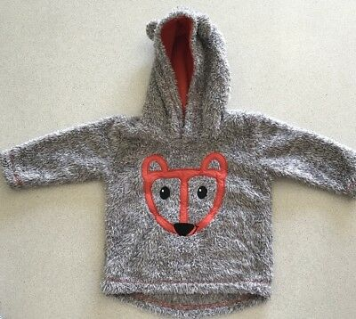 Boys 'Baby Baby' Fluffy Fox Hoodie/top/jumper, Size 0 (6-12M), Rarely Worn