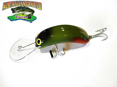 Australian Crafted Lures- cod 90mm invader green & Red col;76 20ft a.c.lures